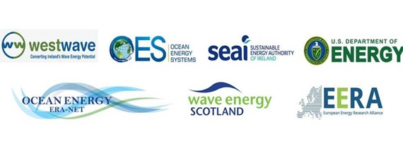Collection of logos for organisations involved in Metrics development along with Wave Energy Scotland